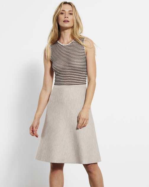 Merino and viscose dress with fancy stitching