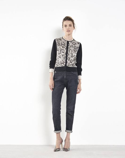 Python-print classic cardigan in silk and cotton - Mastic / noir