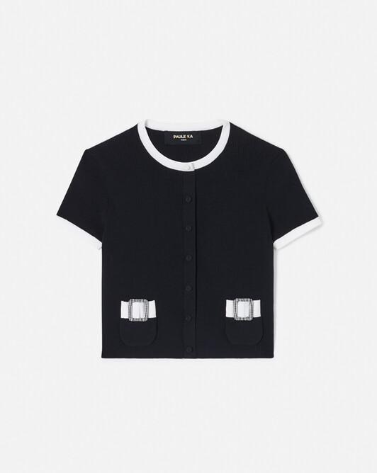Cardigan en coton - Noir / blanc
