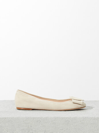 Suede leather ballet flats - Sand