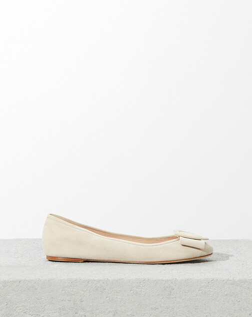 Suede leather ballet flats