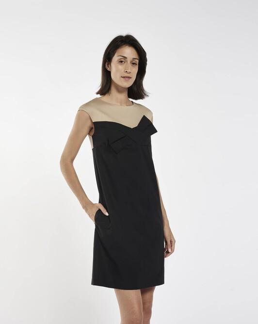 Dress in stretch-cotton poplin - Black / beige