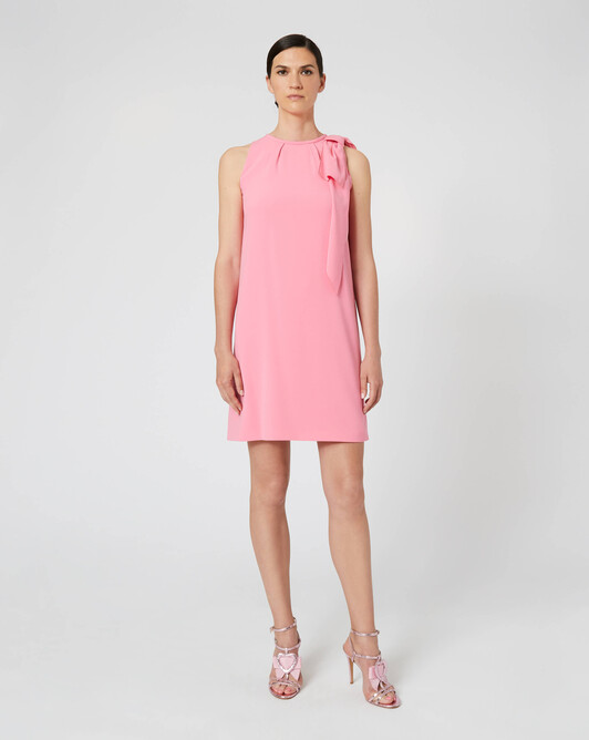 Satin-back crepe dress - Bubble gum