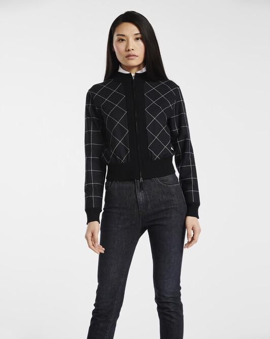 Cardigan in bi-material merino wool - Noir