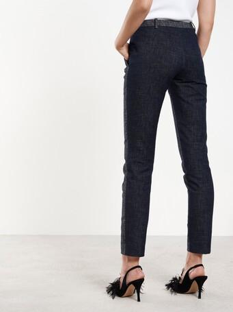 Pantalon droit en denim de coton - Marine