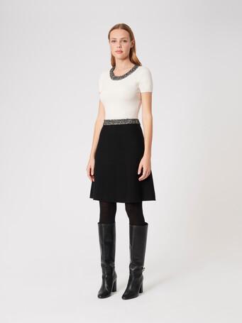 Robe en laine et cachemire - Blanc casse / noir