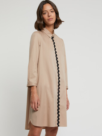 Stretch-satin poplin dress - Beige