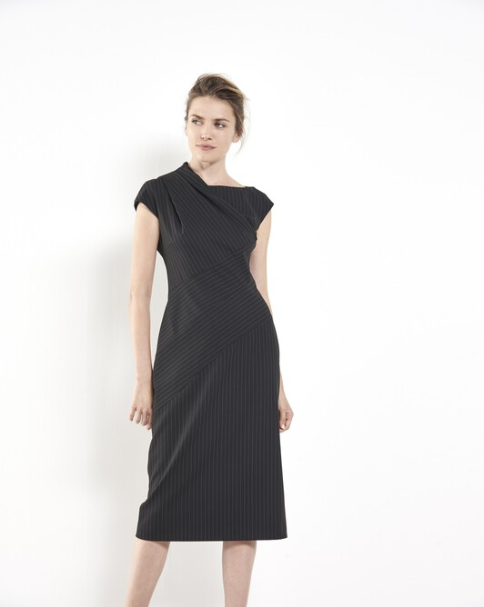 Pinstriped dress - Noir