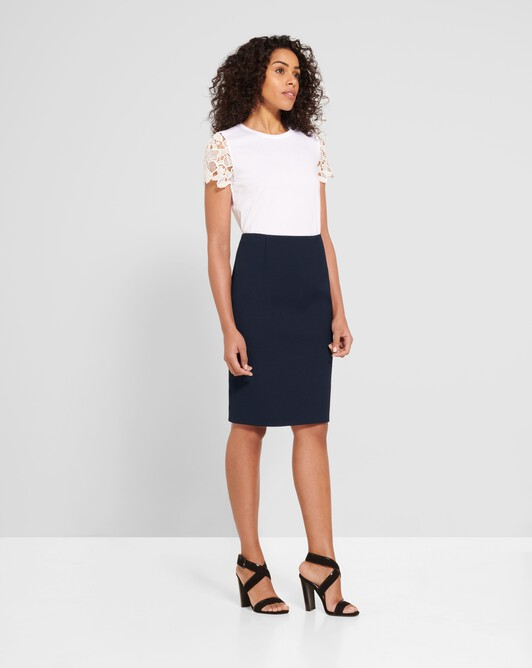 Cotton-piqué skirt - Encre