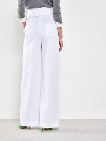 Pantalon large en coton - Blanc