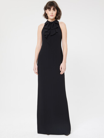Satin-back crepe gown - Noir
