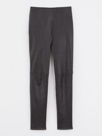 Pantalon slim en cuir d'agneau stretch - Noir