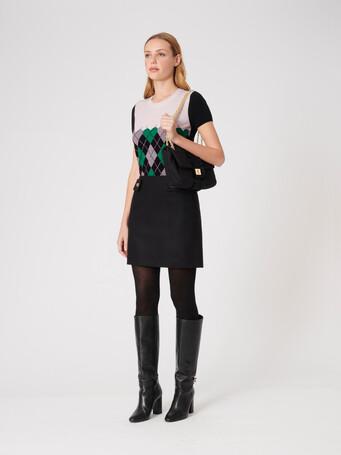 Pull en laine et cachemire - Noir / emeraude
