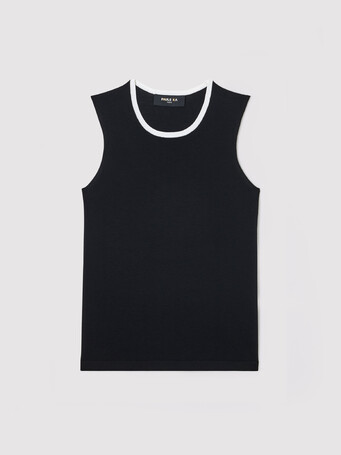 Silk and cotton tank top - Noir