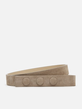 Patent-leather belt - Beige