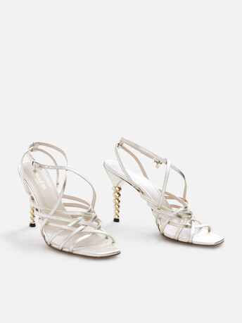 Metallic leather sandals - Or clair