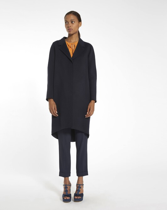 Coat in double-faced wool - navy blue