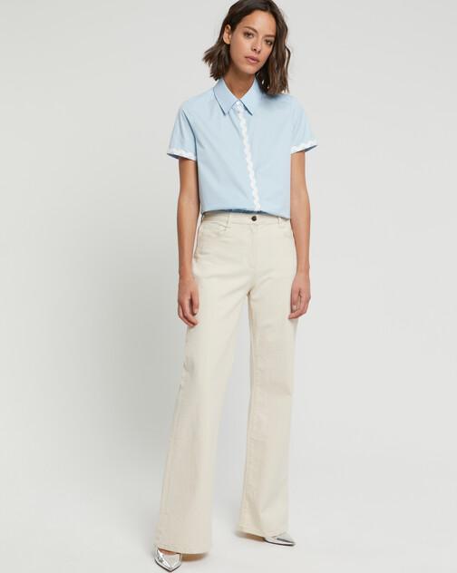 Stretch-satin poplin shirt