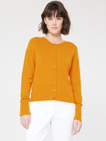 Merino-wool cardigan - Curcuma