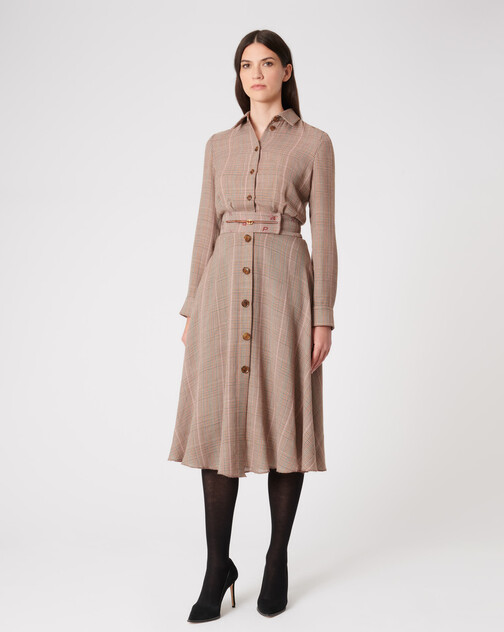 Prince of Wales checked voile dress