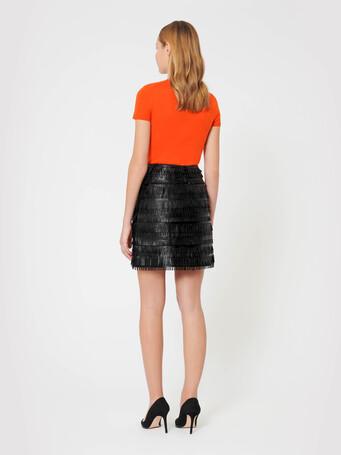Short skirt in fringed lambskin leather - Noir