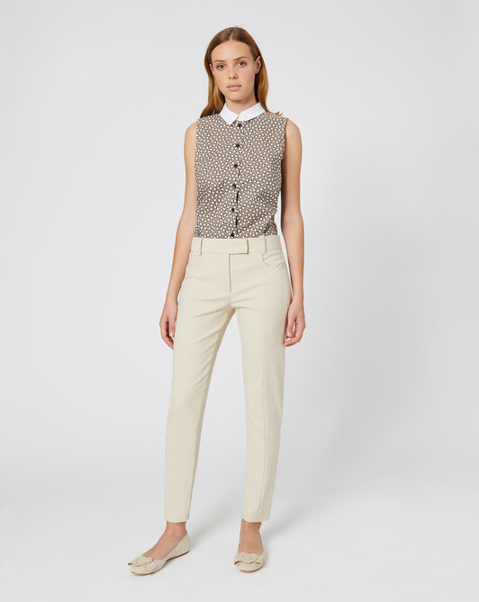Cotton tricotine pants - Sand