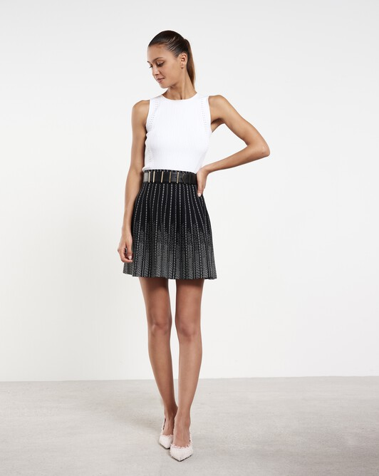 Short viscose skirt - Noir / blanc