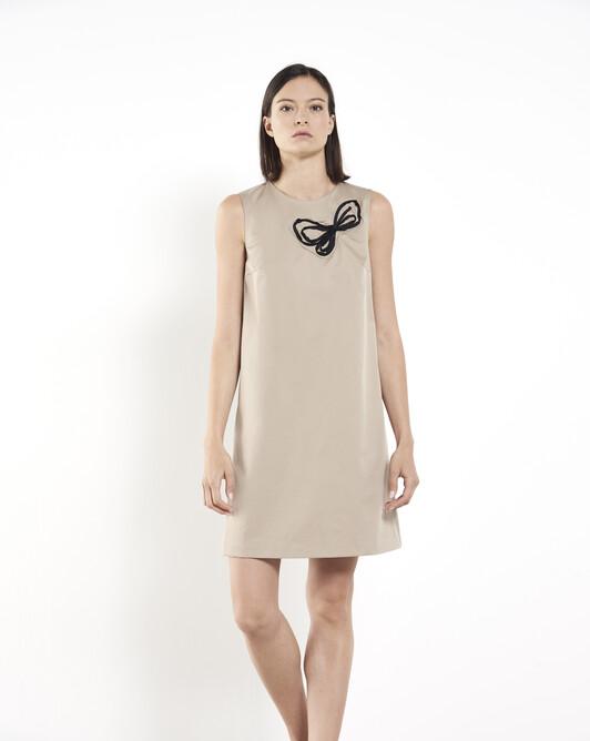 Cotton-gabardine dress - Beige