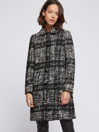 Manteau mi-long en tweed chiné - Noir