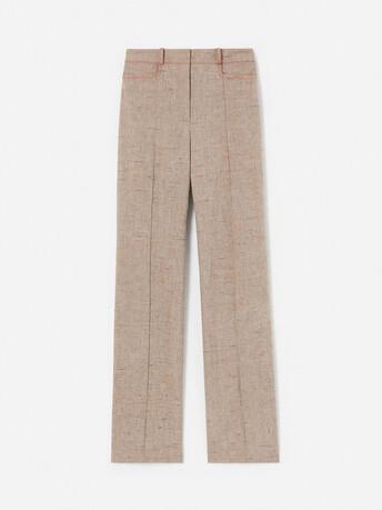 Pantalon droit en lin flammé - Beige