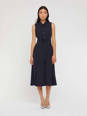 Satin-back crepe shirt dress - Navy blue