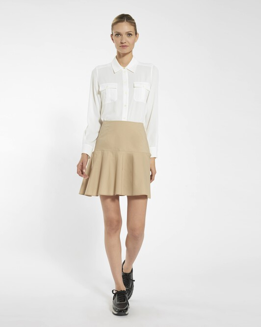 Stretch cotton poplin skirt - Beige