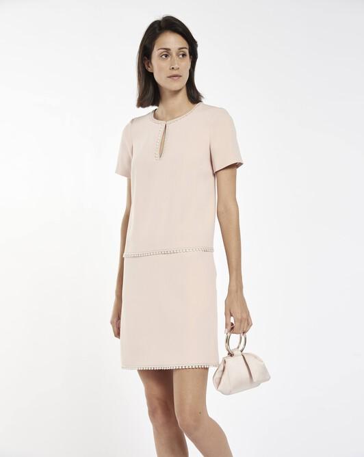 Satin-back crepe dress - pale pink