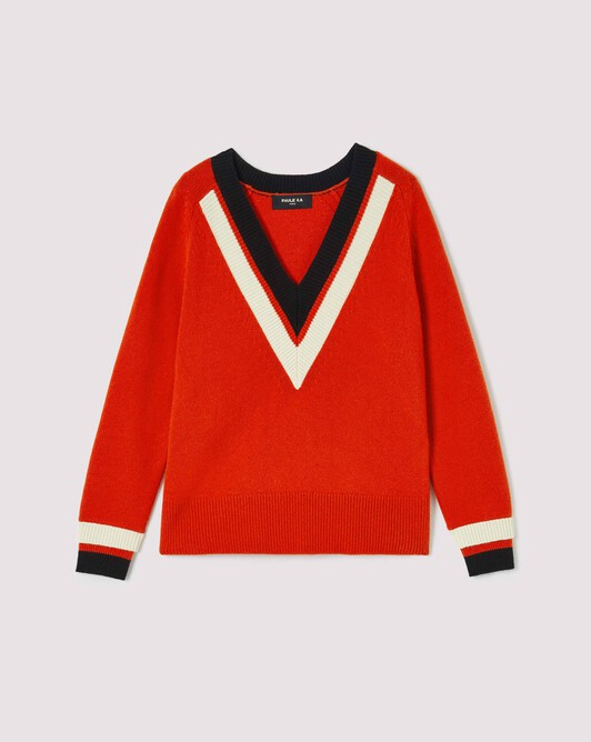 Pull en laine - Cornaline / noir