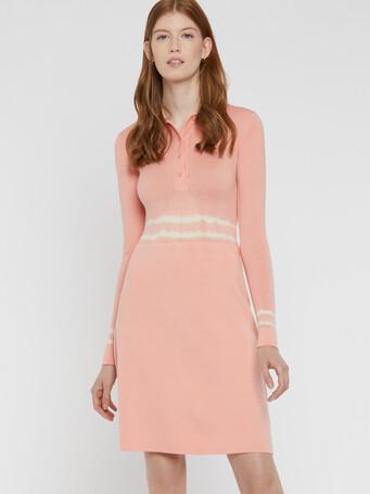 Robe courte en mérinos - Eau de rose / blanc casse
