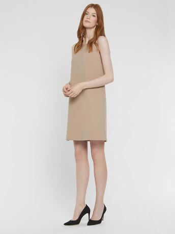 Robe trapèze en tricotine - Beige