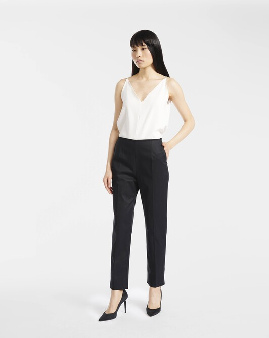 Pants in stretch-cotton gabardine - Noir