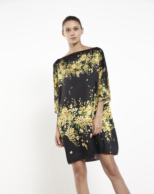 Twill dress - Noir / mimosa