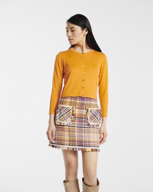 Cardigan in cashmere silk - Tangerine