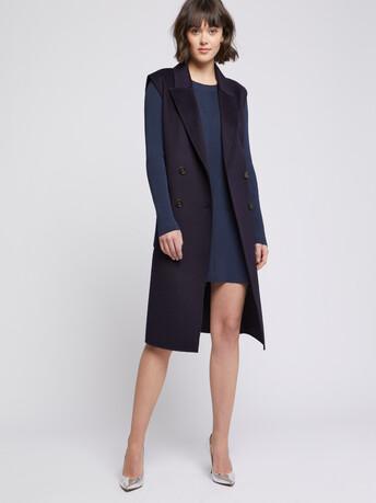 Manteau sans manches en laine et cachemire - Marine