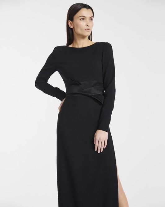 Gown in satin-back crepe - Noir