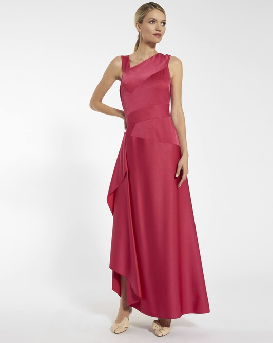 Satin-back crepe dress - Framboise