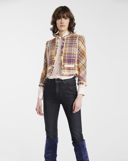 Jacket in Prince of Wales checked cotton - Jaune / rose
