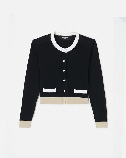 Cardigan en soie et coton - Noir