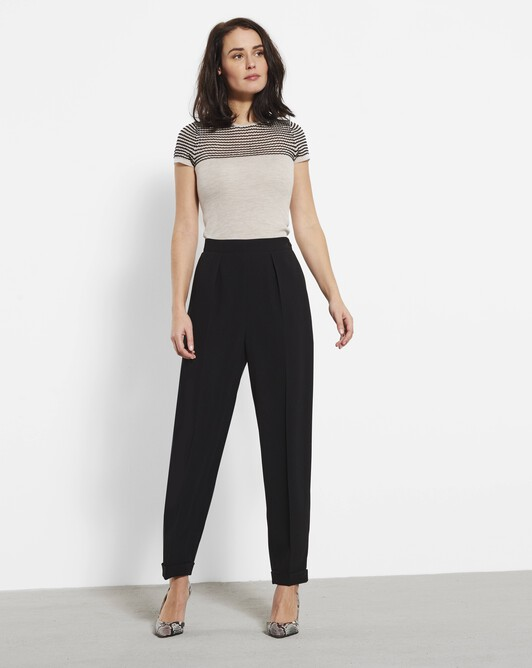 Satin-back crepe trousers - Noir