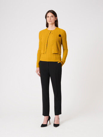 Wool and cashmere cardigan - Ocre
