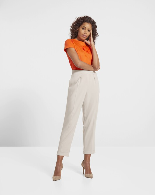 Satin-back crepe pants - Stone