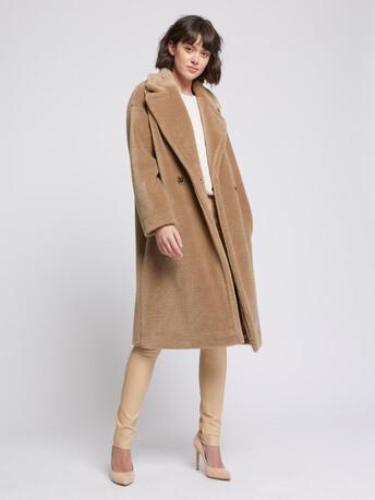 Manteau long en laine bouclée - Noisette