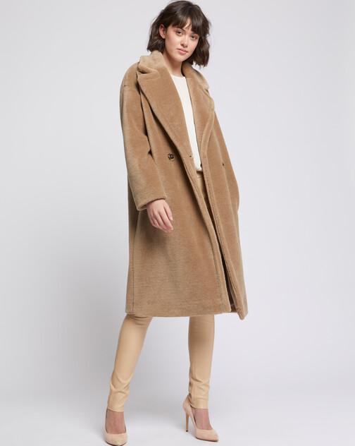Manteau long en laine bouclée