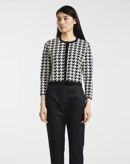 Cardigan in houndstooth jacquard - Black / off white